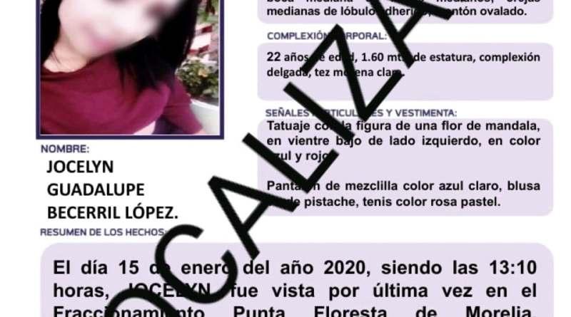 En Morelia, localiza FGE a joven de 22 años, reportada como desaparecida