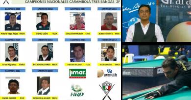 Tres michoacanos han ganado el torneo nacional de carambola