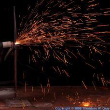 Hafnium Plasma torch in operation