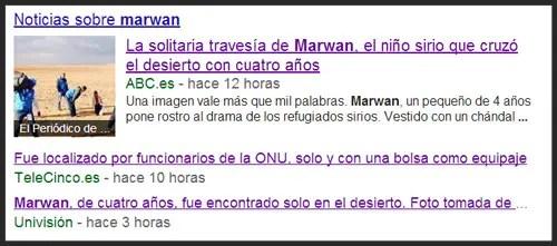 Captura de pantalla de Noticias de Google relacionadas con la noticia falsa