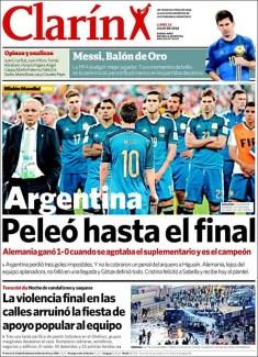 "Clarín: ""Argentina peleó hasta el final"""