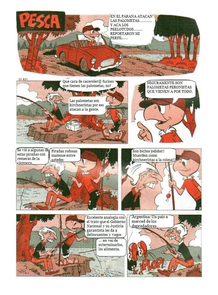 Página de Condoricosos, que reemplaza los diálogos de Condorito por frases de los foristas de La Nación