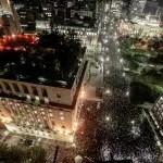 Imagem aérea mostra milhares em frente à prefeitura de São Paulo