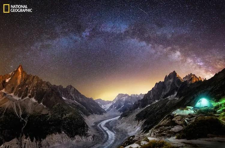 near the chamonix glacier, panorama