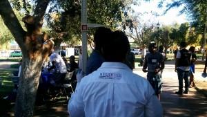Feria de la Salud del Migrante en el Parque de El Mariachi en Mexicali. Acudió Jenisey Espinosa, jefe de la Jurisdicción Sanitaria Número 1 de Mexicali.