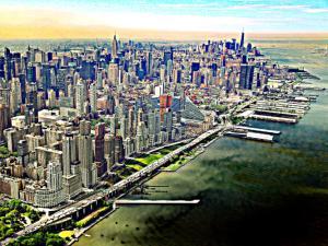 Manhattan, New York/USA von New Jersey über den Hudson River gesehen