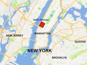 Karte von New York City, Hell's Kitchen hervorgehoben