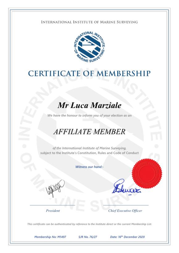 Naval Surveyor Luca Marziale Certifications