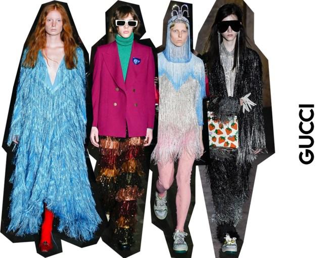 El loco show de Gucci y la tendencia de los flecos.
