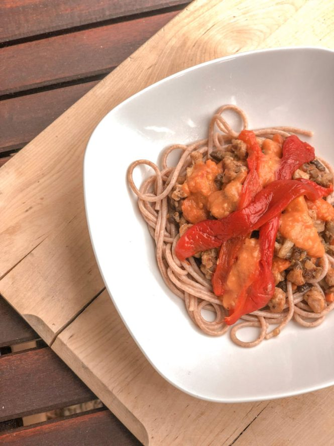 Espaguetis con verduras elaborados