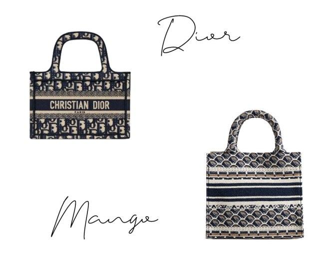 Bolsito Dior tote book clonado por Mango