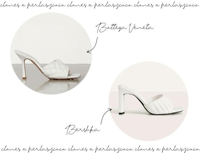 Clon sandalia Padded de Bottega Veneta vs Bershka