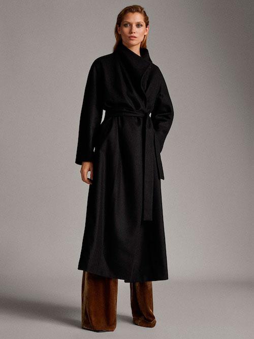 Abrigo negro Massimo Duti