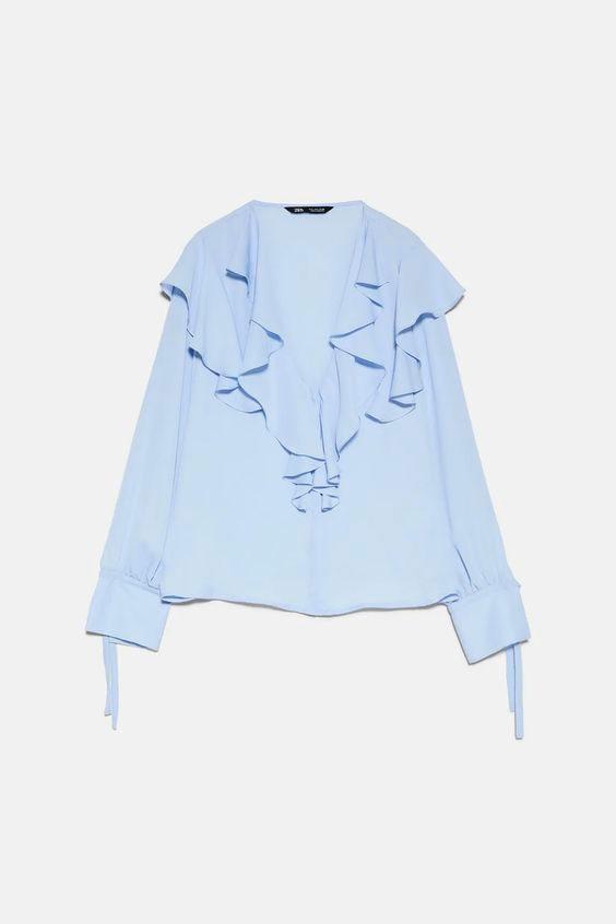 Blusa volante azul Zara