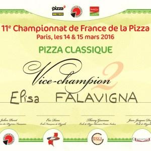 Vice Champion au championnat de France de la Pizza 2016 - Elisa Falavigna