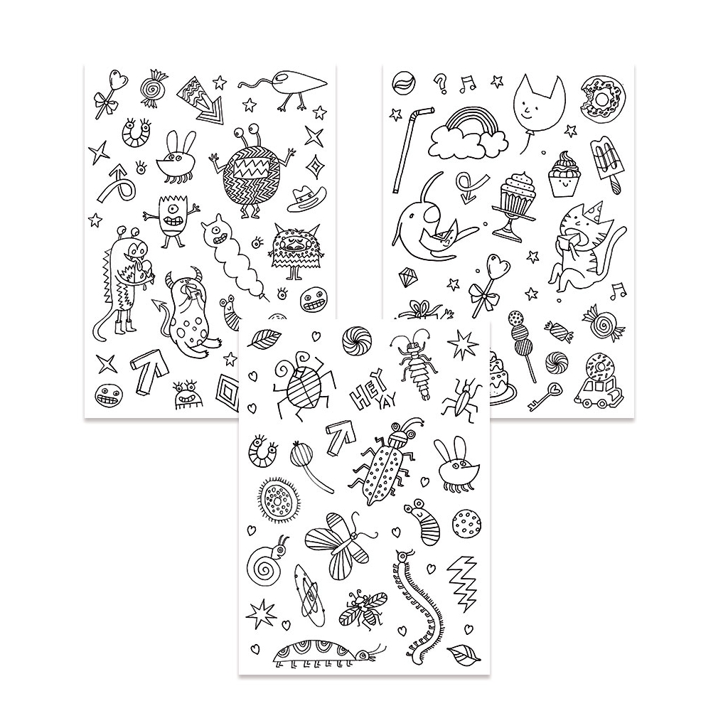 Color In Stickers Colouring Activity Monsters And Insects Pattern