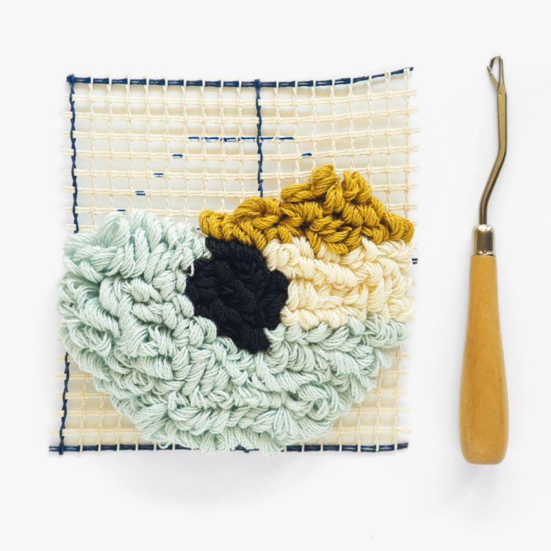 crochet point noue pour tapis et tissage de laine 16 cm x1