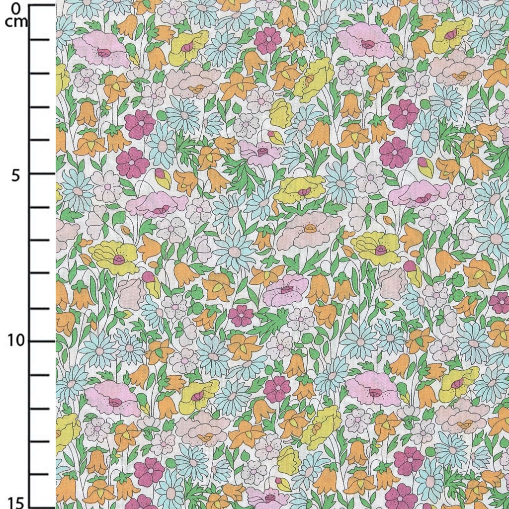 tissu liberty poppy forest orange rose vert x20cm