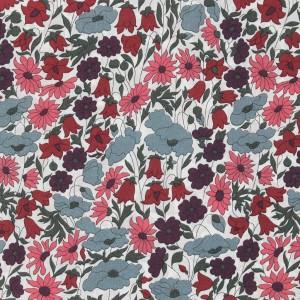 tissu liberty poppy daisy prune bleu gris rose rouge x20cm
