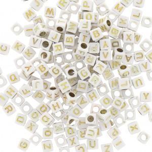 assortiment de 200 perles lettres alphabet cubes 6 mm blanc dore