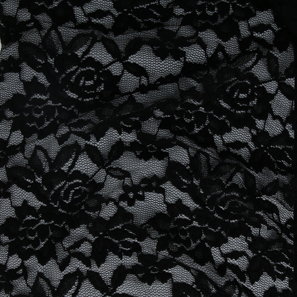 tissu dentelle stretch motif fleurs noir x10cm