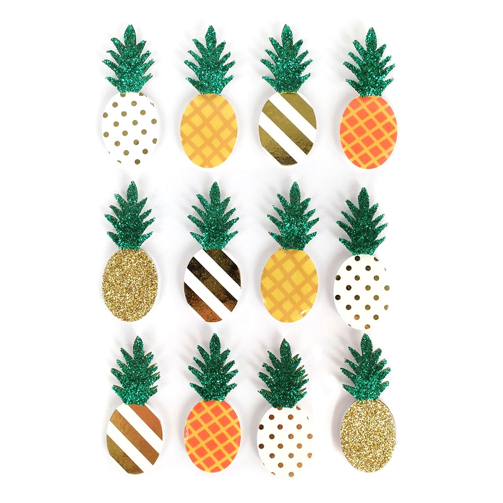 Planche De 12 Stickers En 3D 45 Mm Ananas Graine