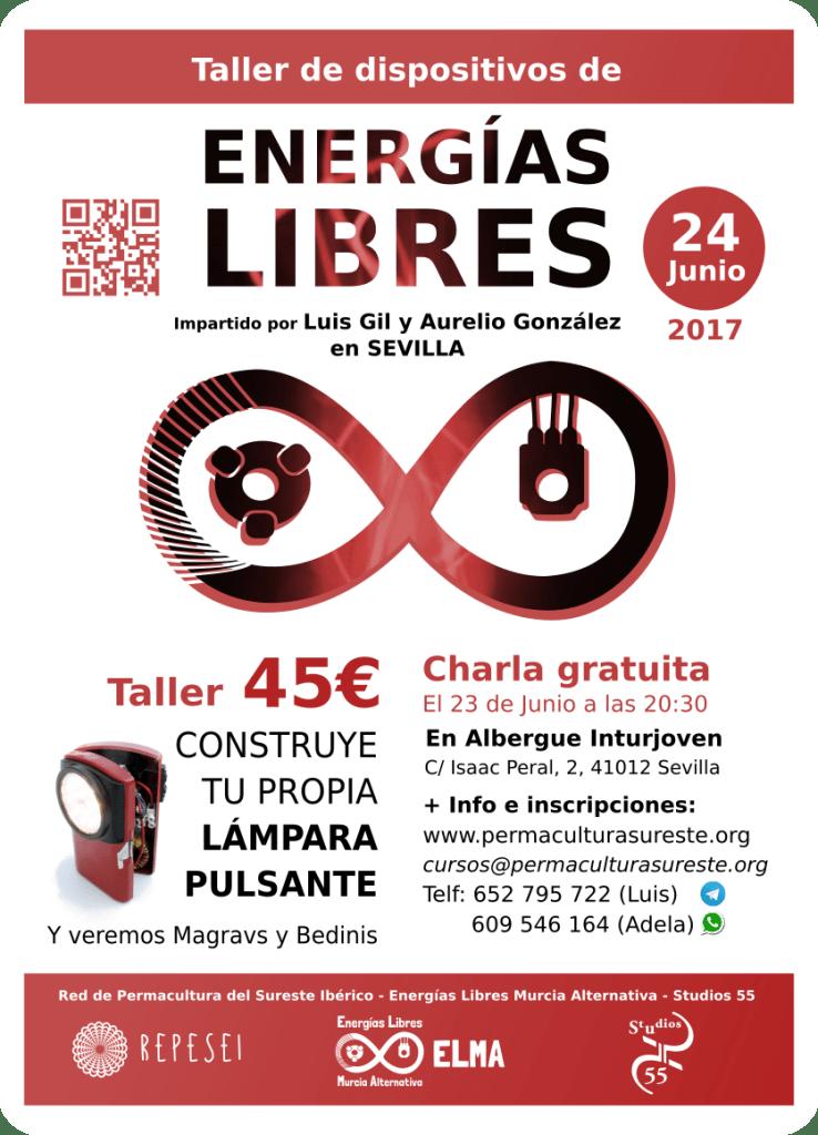 Cartel del Taller de Dispositivos de Energía Libre Sevilla - 2017