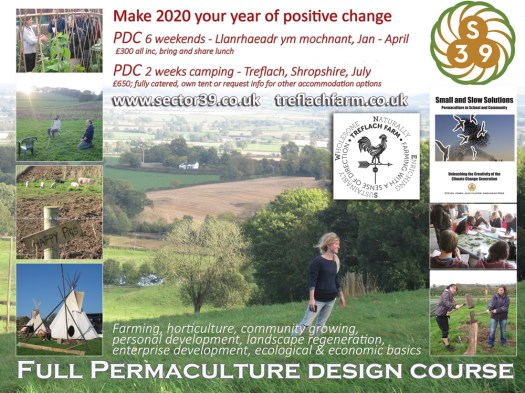 pdc advert July 2020 Wales, UK permaculture design course, sector39