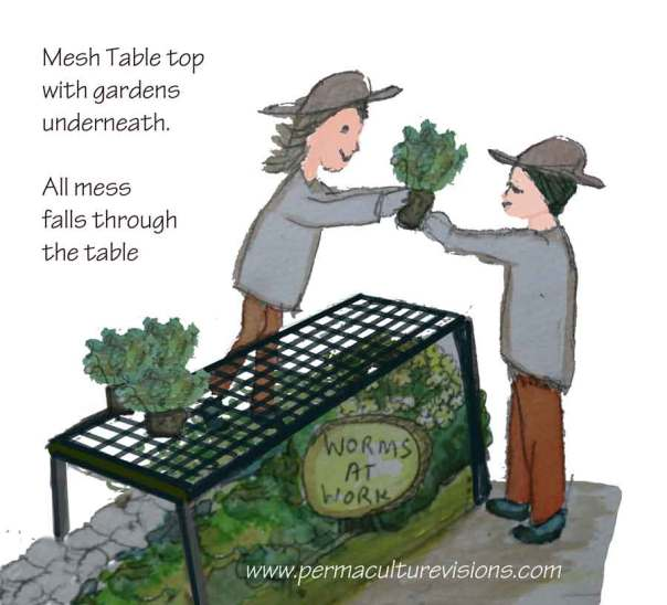 mesh table saves soil and clean-up time after learning