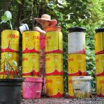 worm farm and liquid manure made in recycled tins