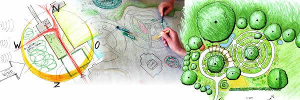 Permacultuur-ontwerpen van verschillende tuinen