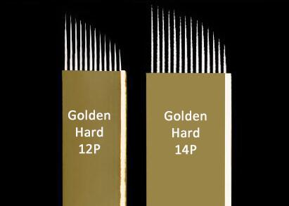 14 Pin Gold Hard Microblading Blades Fine Sterilization Curved Needle