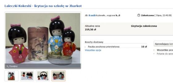 Aukcja laleczek Kokeshi