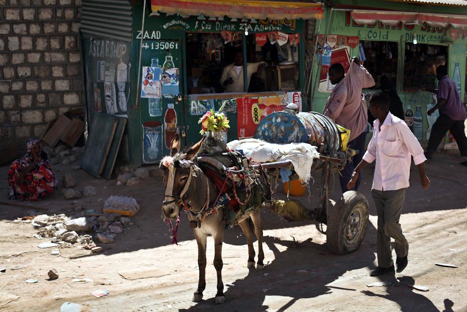 Zdjęcia z Somalii. Beczka z wodą ciągnięta przez osła.