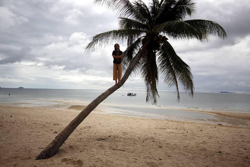 Roman Husraski - turysta na plaży
