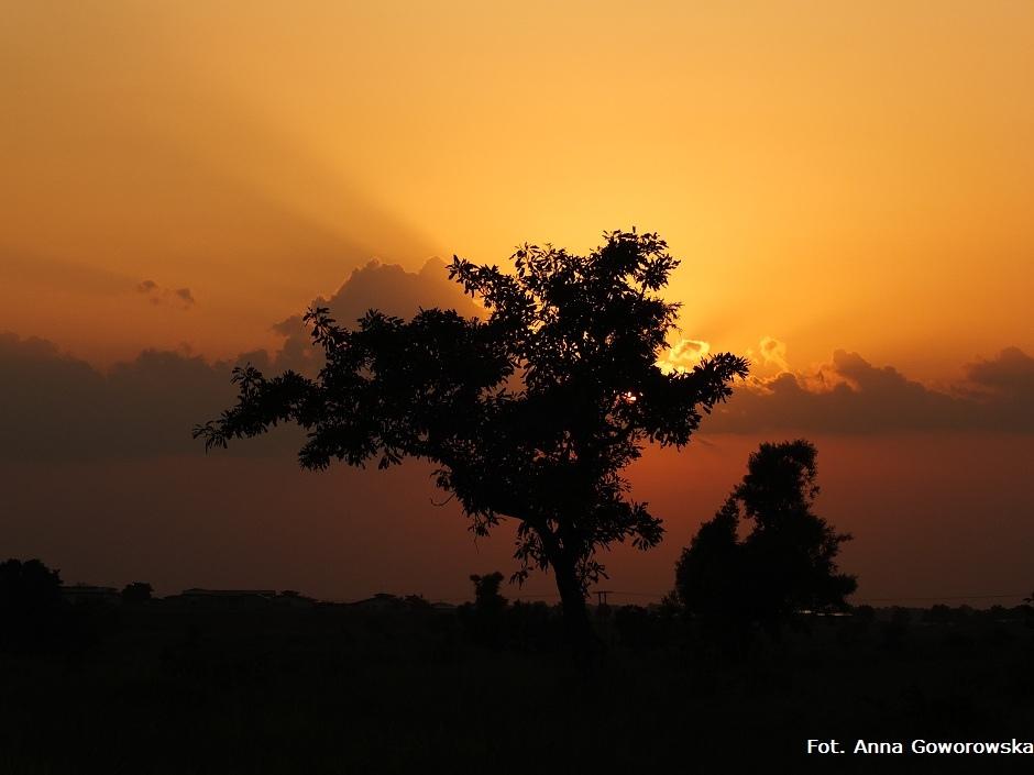 Malowniczy zachód słońca w Afryce