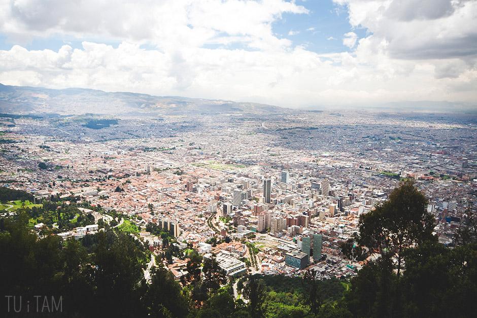 Widok na Bogotę ze wzgórza Monserrate