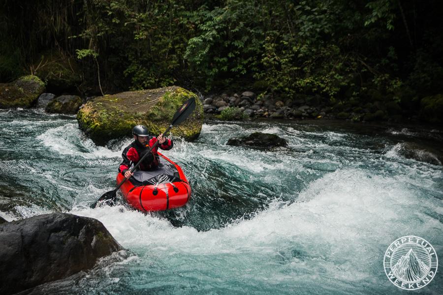 Todd Tumolo paddles his Alpacka Raft down the Barranca Grande