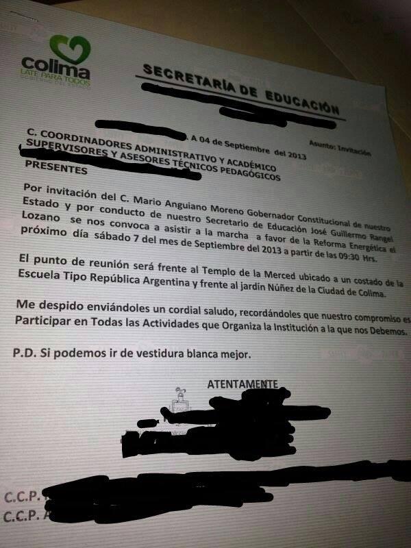 Esta es la invitación que está circulando en la Secretaría de Educación para acudir a la marcha a favor de la Reforma Energética.