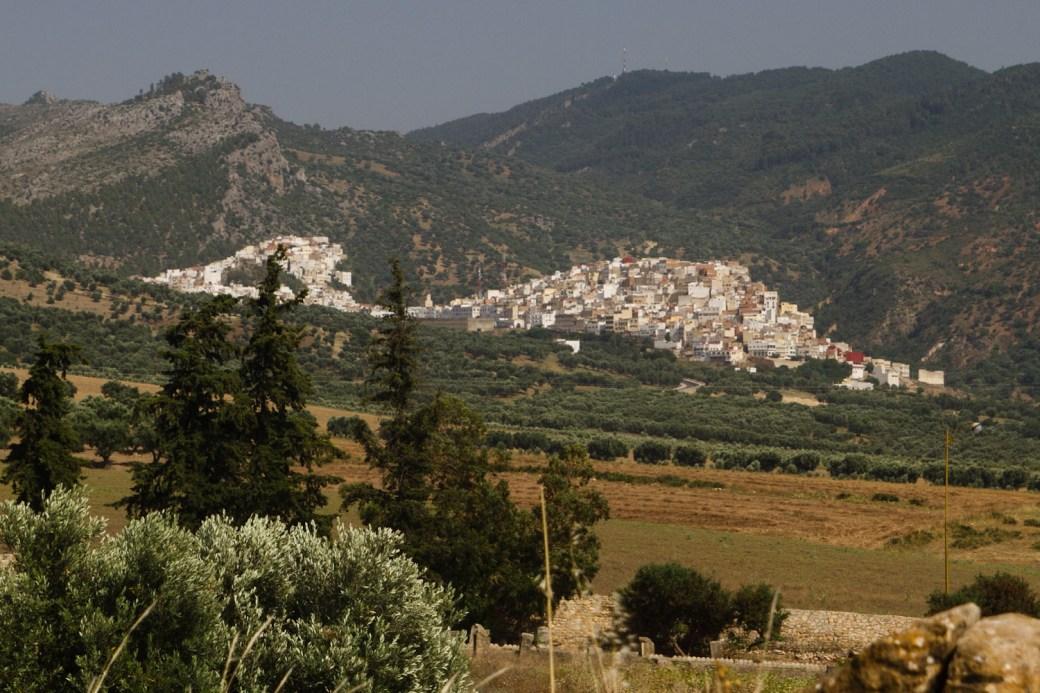 Moulay Idriss vista desde Volubilis, Marruecos
