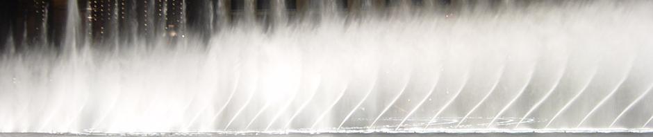 El famoso espectáculo de las fuentes del Bellagio, Las Vegas, Nevada