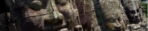 Caras talladas en piedra en el templo Bayon, cerca de Siem Riep, Camboya