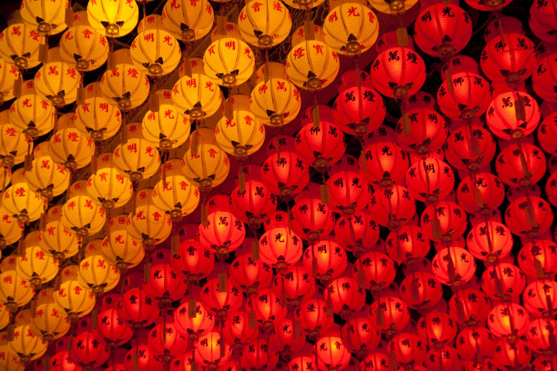 Lámparas de año nuevo chino en el templo Kek Lok Si, isla de Penang, Malasia