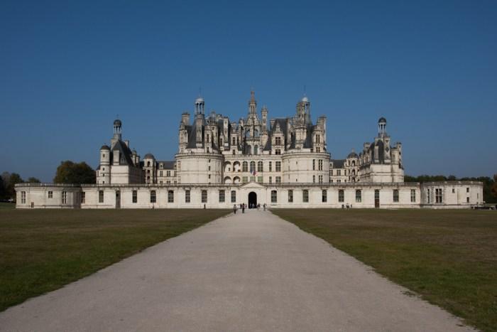 La fachada del castillo de Chambord