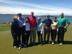 Perry Golf clients taking in the panoramic views at Castle Stuart Golf Links