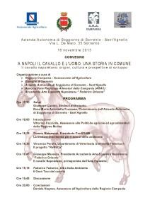 """Sabato 16 novembre interessante convegno a Sorrento """"A Napoli il cavallo e l'uomo: una storia in comune"""""""