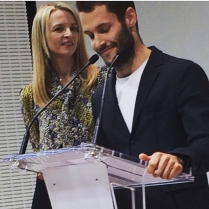Repost by @suzymenkesvogue #LVMHprize Delphine and the fashion designer 2015 Simon Porte of Jacquemus! ✨ ✨