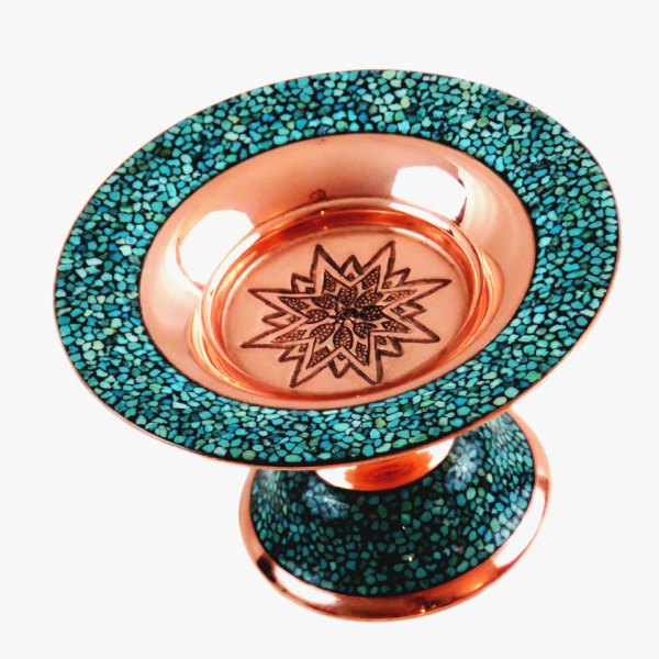 Turquoise inlaid candy dish