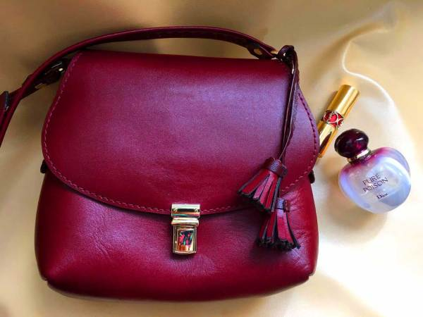 Hand stitched leather handbag