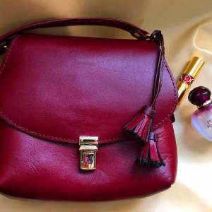 Hand stitched leather handbag